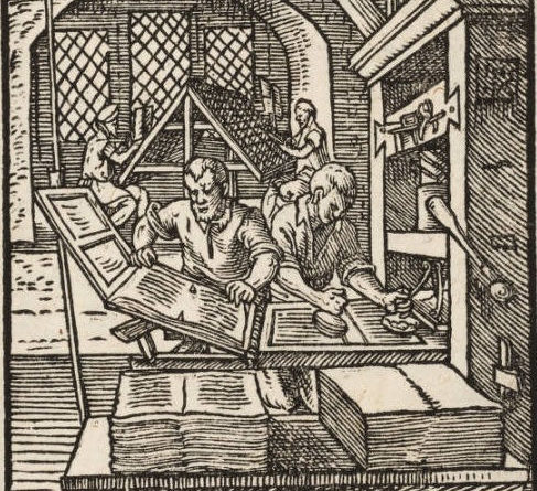 The Book printer. [Panoplia] omnium illiberalium mechanicarum aut sedentariarum artium... H. Schopper, J. Amman. Francofurti ad Moenum: S. Feyerabend, 1568. Courtesy of The Linda Hall Library of Science, Engineering & Technology