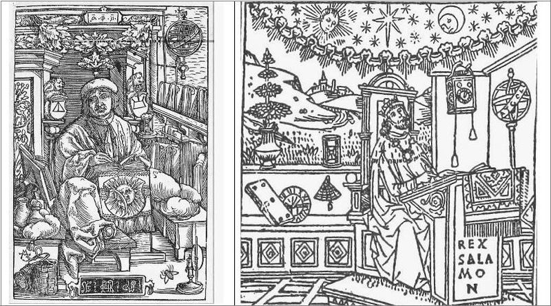 Left: Francysk Skaryna's portrait. Kniga premudrosti Iisusa, syna Sirahova [Wisdom of Jesus Son of Sirach]. Prague: Francysk Skaryna, 1517. P. 82r. Right: Salomon, fragment. Calendarium. Venetia: Nicolo de Balager (Nicolaus dictus Castilia), 1488; Quot. here is 1511 edition, from Horologio della sapientia et meditationi sopra la passione delnostro signore Iesu Christo vulgare (Venetia: S. da Lovere, 1511)