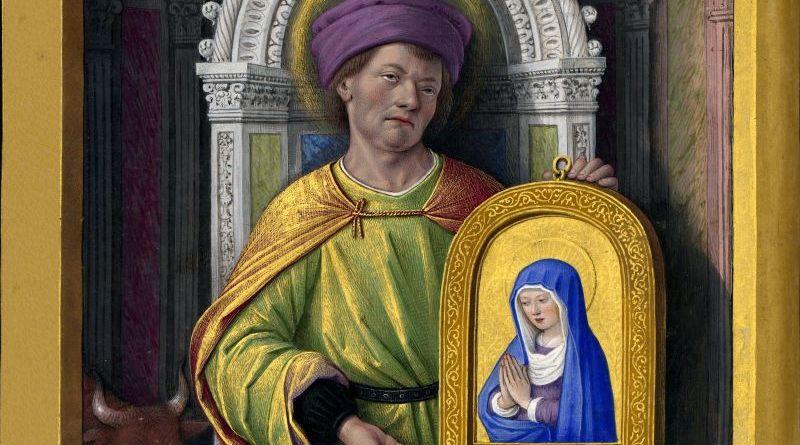 Св. Лука. Миниатюра из Часовника Анны Бретонской, королевы Франции (1477-1514), Национальная Библиотека Франции
