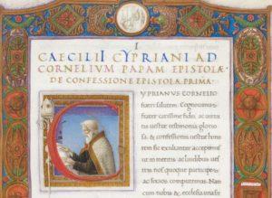 Фрагмент заставки и заголовка руки Бартоломео Санвито, из S. Cyprianus. Carthaginensis episcopus, Epistolae. 1400–1500.
