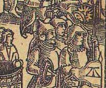 Гравюра «Людие Израйлевы с полки своймя около храму божия». Ф. Скорина. Книги четвертые Моисеевы, зовемые Числа. – Прага, 1519. (Иллюстрация справа)