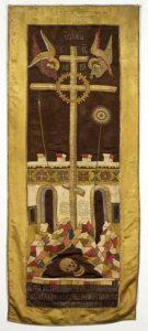 Голгофский крест в XVI в. Антиминс 1557 г. Атлас, шелковые, золотые и серебряные нити. Шитье. Сергиево-Посадский музей-заповедник. Инв. № 404.