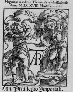 Деталь колофона. Johannes Reuchlin. De accentibus et orthographia linguae hebraicae. – Hagenau: Thomas Anshelm, 1518. – F. 88 r